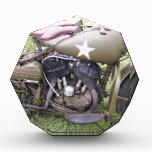 Vintage Army Motorcycle Acrylic Award