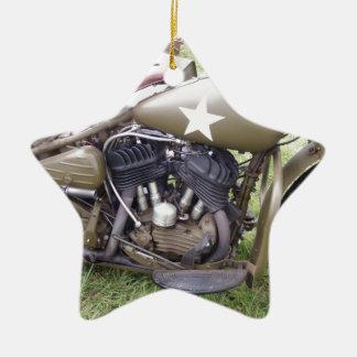 Vintage Army Motorcycle Ceramic Ornament