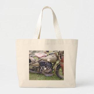 Vintage Army Motorcycle Large Tote Bag