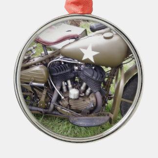 Vintage Army Motorcycle Metal Ornament
