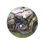 Vintage Army Motorcycle Round Wallclocks