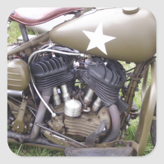 Vintage Army Motorcycle Square Sticker