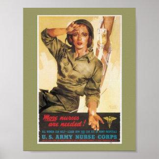 Vintage Army Nurse Poster