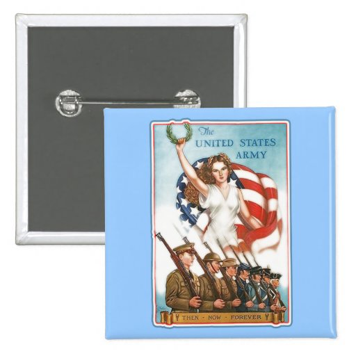 Vintage Army Poster with Lady Liberty Tshirts 2 Inch Square Button