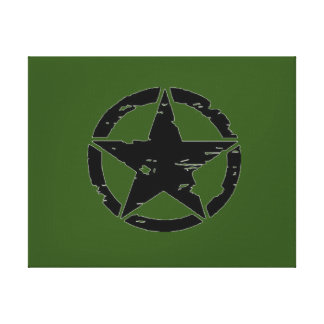 Vintage Army Star Photo Canvas Print