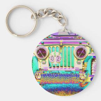 vintage army truck basic round button keychain