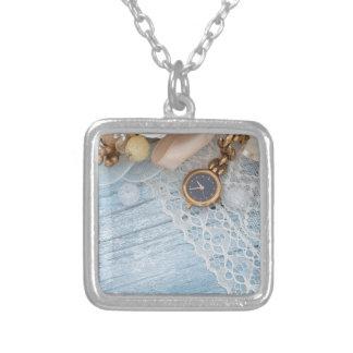 vintage arrangement, square pendant necklace