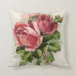 Vintage Art Antique Roses Pillow