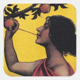 Vintage Art Apple Juice Lady Fruit Sticker