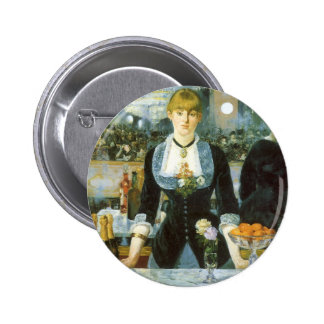 Vintage Art, Bar at the Folies Bergere by Manet Button