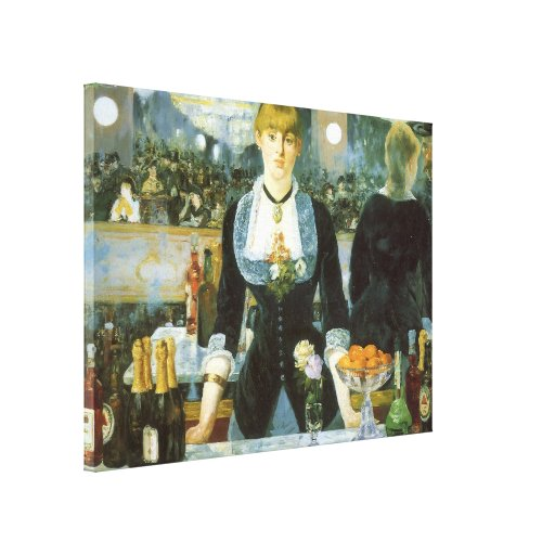 Vintage Art, Bar at the Folies Bergere by Manet Canvas Print