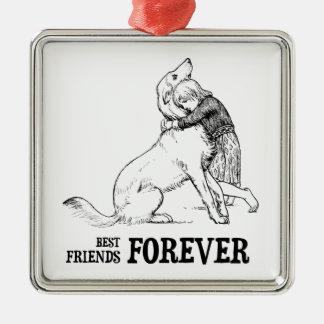 Vintage Art: Best Friends Forever Girl hugging Dog Metal Ornament