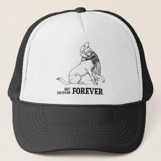Vintage Art: Best Friends Forever Girl hugging Dog Trucker Hat