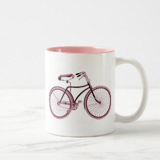 Vintage Art bike sports pink cute customized name Two-Tone Coffee Mug