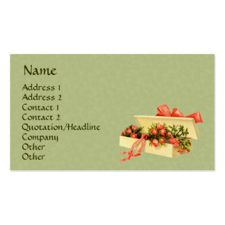Vintage Art Box Of Roses Business Card