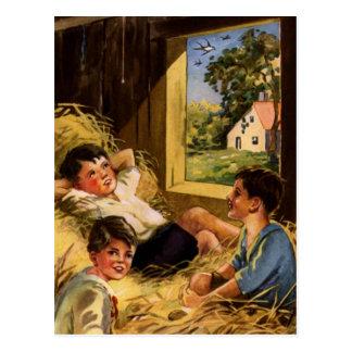 Vintage Art Boys on Farm in Summer Post Card