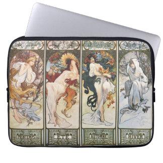 Vintage Art by Alphonse Mucha Laptop Sleeve