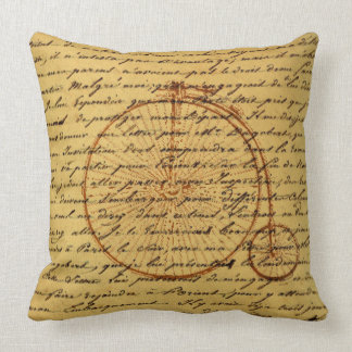 Vintage Art Calligraphy and Retro bicycle Throw Pillow