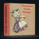 """Vintage Art Cat w/Pie Baking &amp; Cooking Recipe Book Binder<br><div class=""""desc"""">A mother cat shows off her freshly baked pie on the front of this recipe binder. Floral background with a red spine gives it an old style book appearance. Text is fully customizable on both the front and spine. The back of the binder shows three kittens enjoying the pie. The...</div>"""