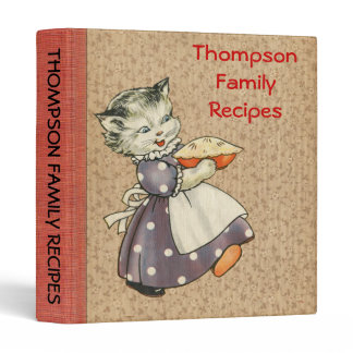 Vintage Art Cat w/Pie Baking & Cooking Recipe Book Binder