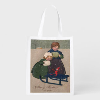 Vintage Art Christmas, Two Girls an Elf on a Sled Reusable Grocery Bag