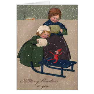 Vintage Art Christmas Two Girls and an Elf Card