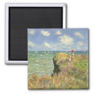 Vintage Art, Cliff Walk Pourville by Claude Monet 2 Inch Square Magnet