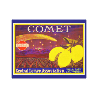 Vintage Art Comet Brand Lemon Crate Label Canvas Print