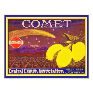 Vintage Art Comet Brand Lemon Label Photo Print