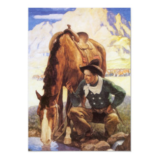 Vintage Art, Cowboy Watering His Horse by NC Wyeth 5x7 Paper Invitation Card