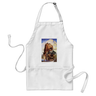 Vintage Art, Cowboy Watering His Horse by NC Wyeth Adult Apron