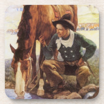 Vintage Art, Cowboy Watering His Horse by NC Wyeth Beverage Coaster
