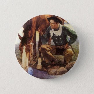 Vintage Art, Cowboy Watering His Horse by NC Wyeth Button