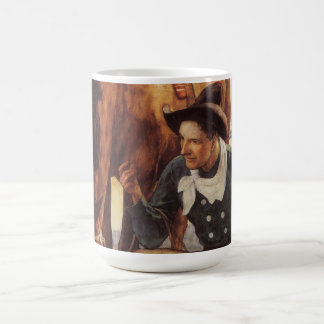 Vintage Art, Cowboy Watering His Horse by NC Wyeth Coffee Mug