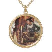 Vintage Art, Cowboy Watering His Horse by NC Wyeth Gold Plated Necklace
