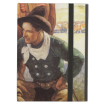 Vintage Art, Cowboy Watering His Horse by NC Wyeth iPad Air Case