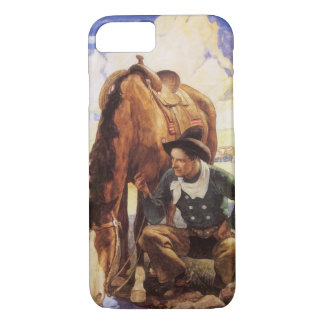 Vintage Art, Cowboy Watering His Horse by NC Wyeth iPhone 8/7 Case