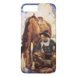 Vintage Art, Cowboy Watering His Horse by NC Wyeth iPhone 8 Plus/7 Plus Case
