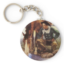 Vintage Art, Cowboy Watering His Horse by NC Wyeth Keychain