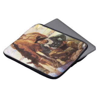Vintage Art, Cowboy Watering His Horse by NC Wyeth Laptop Computer Sleeve