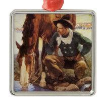 Vintage Art, Cowboy Watering His Horse by NC Wyeth Metal Ornament
