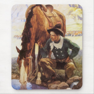 Vintage Art, Cowboy Watering His Horse by NC Wyeth Mouse Pad