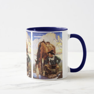 Vintage Art, Cowboy Watering His Horse by NC Wyeth Mug