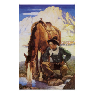 Vintage Art, Cowboy Watering His Horse by NC Wyeth Poster