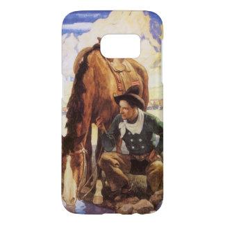 Vintage Art, Cowboy Watering His Horse by NC Wyeth Samsung Galaxy S7 Case