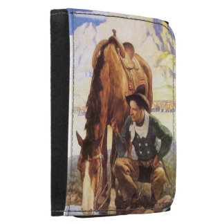 Vintage Art, Cowboy Watering His Horse by NC Wyeth Trifold Wallet