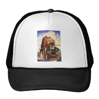 Vintage Art, Cowboy Watering His Horse by NC Wyeth Trucker Hat