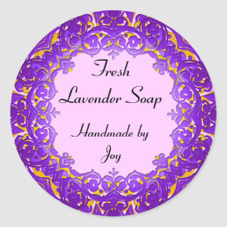 Vintage Art Custom Soap or Canning Labels Purple Classic Round Sticker