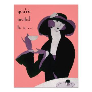 Vintage Art Deco Afternoon Tea Party Bridal Shower 4.25x5.5 Paper Invitation Card