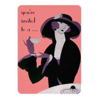 Vintage Art Deco Afternoon Tea Party Bridal Shower 5x7 Paper Invitation Card